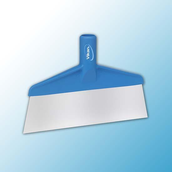 Скребок с рабочей пластиной из нержавейки для столов и полов, 260 мм, синий цвет