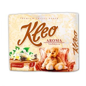 """Бумага туалетная """"Kleo Aroma"""" Ваниль 3-х сл. 4 рул.x18, белая"""