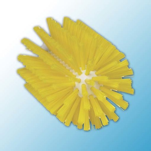 Щетка-ерш для очистки труб, гибкая ручка, Ø90 мм, средний ворс, желтый цвет