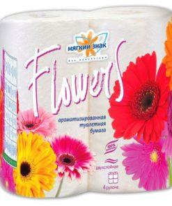 """Бумага туалетная """"Мягкий знак"""" Deluxe Aroma Flowers 2-х сл. 4 рул.x24,белая"""
