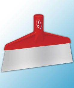 Скребок с рабочей пластиной из нержавейки для столов и полов, 260 мм, красный цвет