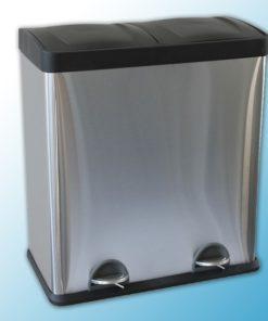Двойная корзина с педалью для сортировки отходов металлическая, матовая (30л*2)