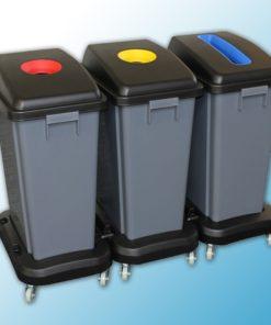 Набор пластиковых корзин для сортировки отходов (60л*3) на колесах
