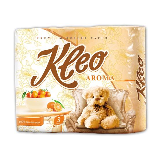 "Бумага туалетная ""Kleo Aroma"" Мандарин 3-х сл. 4 рул.x18, оранжевый"