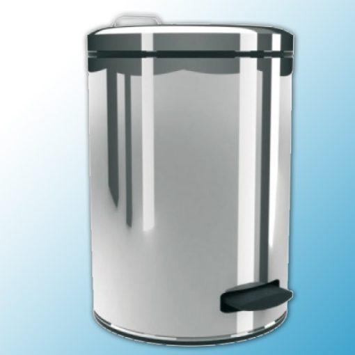 Корзина с педалью металлическая полированная (12л)