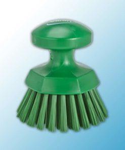 Щетка ручная круглая жесткая, Ø110 мм, жёсткий ворс, зеленый цвет