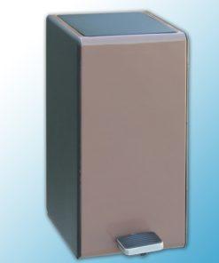 Корзина с педалью, прямоуголная 7л, металл, колричневая с черными боками (имитация кожи)