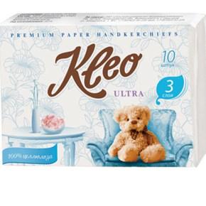"Платочки бумажные ""Kleo"" 3-х сл. 10штx360, белые"