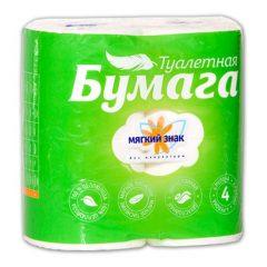 """Бумага туалетная """"Мягкий знак"""" 2-х сл. 4рул.x24, белая"""