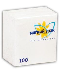 """Салфетки бумажные однослойные """"Мягкий знак"""" 100 листов 1-х сл. 1 упак.x40, белые"""