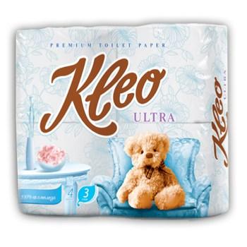 """Бумага туалетная """"Kleo"""" Ultra 3-х сл. 8 рул.x9, белая"""