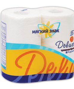 """Бумага туалетная """"Мягкий знак"""" Deluxe 2-х сл. 4 рул.x24, белая"""