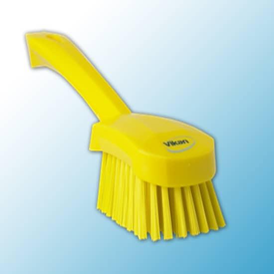 Щетка для мытья с короткой ручкой, 270 мм, жёсткий ворс, желтый цвет