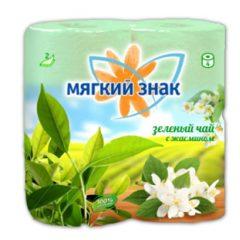 """Бумага туалетная """"Мягкий знак"""" Deluxe Aroma 2-х сл. 4 рул.x24, Зеленый чай"""