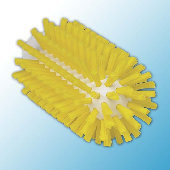 Щетка-ерш для очистки труб, гибкая ручка, Ø63 мм, Жесткий, желтый цвет