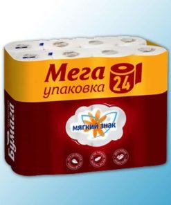 """Бумага туалетная """"Мягкий знак"""" 2-сл. 24 рул x 4"""