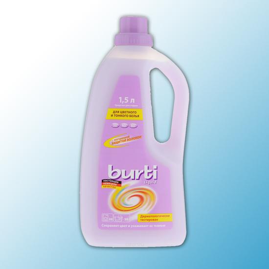 """Жидкое средство для стирки для цветного и тонкого белья """"BURTI Liquid"""" 1,5л"""