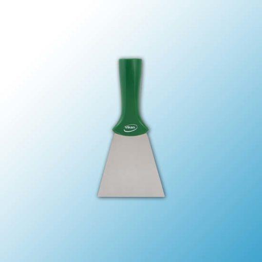Ручной скребок нержавеющая сталь, с резьбовой ручкой, 100 мм, зеленый цвет
